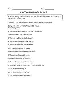 Action Verbs in Context Worksheet | Verbs Worksheets | Pinterest ...