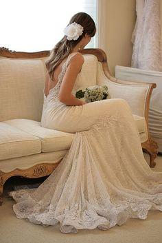 Beautiful Backless lace Wedding Dress.