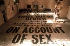 doyle partners commemorates the 75th anniversary of the 19th amendment, which granted women the right to vote; the text was applied to the floor of grand central terminal in 9,276 point type.
