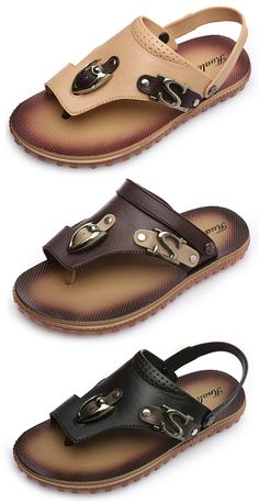 cc6b0d7b6539c Men Metal Ornament Flat Beach Sandals Comfortable Flip Flops Sandals is  comfortable to wear