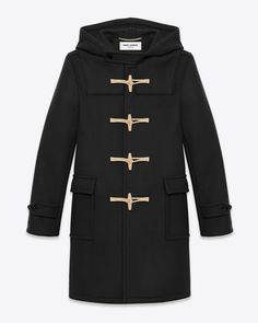 SIGNATURE SAINT LAURENT HOODED DUFFLE COAT WITH TRADITIONAL CONSTRUCTION, WOODEN TOGGLES AND ADJUSTABLE BELTED CUFFS.