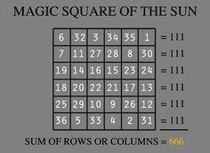 Magic Square of the Sun - 666