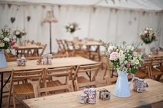 decorated marquee interior trestle tables