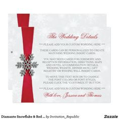 Diamante Snowflake & Red Ribbon Winter Wedding Card