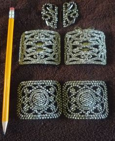 Stunning Lot of 3 Antique vintage Victorian Cut Steel French Shoe & Belt Buckles