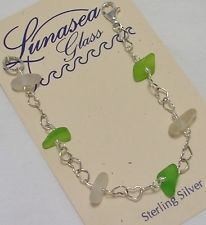 LUNASEA TREASURES SEA GLASS DRILLED LIME KELLY WHITE STERLING SILVER BRACELET 7""