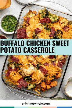 Buffalo Chicken Sweet Potato Casserole is a healthy and satisfying dish that's made using broccoli, onions, bacon, and more. This delicious recipe requires just 10 minutes of prep time! Potatoe Casserole Recipes, Sweet Potato Casserole, Sweet Potato Recipes, Casserole Dishes, Chicken Recipes, Easy Weeknight Meals, Easy Meals, I Want Food, Healthy Dinner Recipes