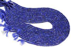 Lapis Lazuli Faceted Roundel (Quality AA) / 4 to 4.5 mm / 36 cm / LA-025 by beadsogemstone on Etsy