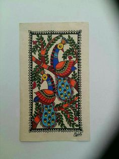 Madhubani Paintings Peacock, Kalamkari Painting, Madhubani Art, Indian Art Paintings, Gond Painting, Fabric Painting, Canvas Art Projects, Indian Arts And Crafts, Indian Folk Art