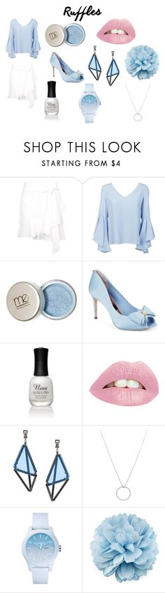 """Cool & Ruffled"" by alyssaf823 ❤ liked on Polyvore featuring Topshop, Dondup, Ted Baker, Charlotte Russe, Issey Miyake, Roberto Coin, Lacoste and Gucci"