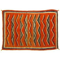 Orange & Grey Antique Navajo Rug x circa 1910 by Ruby + George Chief Seattle, Navajo Rugs, Fabric Rug, Native American Beading, Orange Grey, Dream Decor, Weaving, Textiles, Antiques