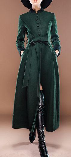 BUTTON DOWN LENGTH COAT DRESS - EMERALD
