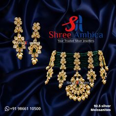 Uncover the inimitable radiance of this Polki, 92.5 silver, and Moissanite necklace set, painstakingly crafted to echo royal sublimity from Shree Ambica - Your Trusted Jewellers. Pick this for the upcoming festive/wedding season. Readily available in stock For Price and Details Message on - +919866110500 #ShreeAmbica #TrustedJewellers #SilverJewellery #kundannecklace #jadaujewellery #polkijewellery #indianbride #indianwedding #jewelrygoals #musthave #sterlingsilverjewelry #Silver Silver Jewellery, Sterling Silver Jewelry, Moissanite Necklace, Wedding Season, Necklace Set, Must Haves, Festive, Jewels, Detail