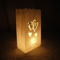 Double Heart Paper Luminaries Bag (10 Pack)