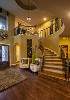 Belmont Plan | Bella Montagna, Austin, TX, curved staircase, wood and iron