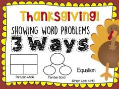 Understanding (and teaching) first grade word problems can be challenging! First graders need to be able to read and understand word problems, represent them, write an equation, and solve them. This no prep collection of Thanksgiving theme problems based