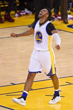 Golden State Warriors' Leandro Barbosa (19) reacts after scoring on a layup against the Cleveland Cavaliers in the fourth quarter of Game 2 of the NBA Finals at Oracle Arena in Oakland, Calif., on Sunday, June 5, 2016. Golden State defeated Cleveland 110-77. (Jose Carlos Fajardo/Bay Area News Group)