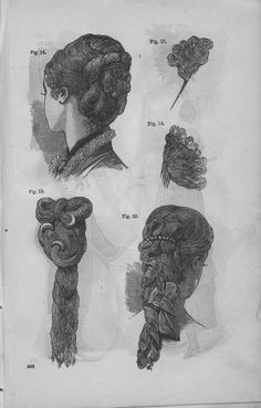 Hair pieces as seen in Godey's Lady's Book, Jan-Jun 1880