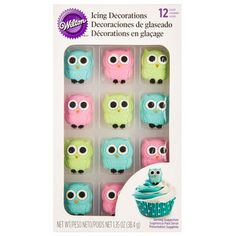 Owl Royal Icing Decorations Wilton Products, Wilton Icing, Owl Birthday Parties, Royal Icing Decorations, Baking Ideas, Baby Shower, Baby Showers, Babyshower