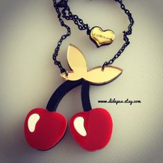 CHERI CHERRY COUPLE laser cut necklace by didepux on Etsy, €12.00