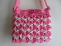Little girls bag girls shoulder bag crocodile stitch. Crochet Shoulder Bags, Crocodile Stitch, Latest Handbags, First Blog Post, Pretty Hands, Girls Bags, Little Princess, Hand Crochet, Bright Pink