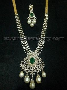 Jewellery Designs: 10 Lakhs Medium Size Diamond Set