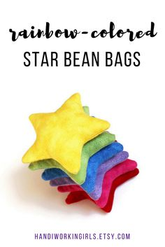 Our set of rainbow-colored star-shaped bean bags adds color to any gathering when used as party favors or as a party game: https://www.etsy.com/handiworkingirls/listing/79698108/star-shaped-rainbow-bean-bags-flannel
