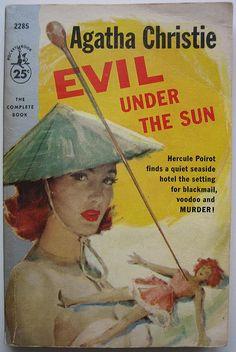 vintage Agatha Christie cover art 'Evil under the sun' poirot mystery