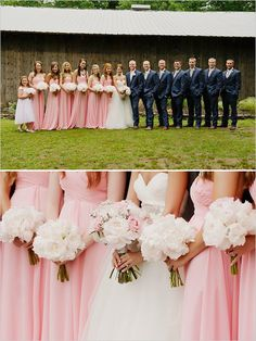 Pink dresses. Simple bridesmaid bouquets. Navy blue suits for the guys. Perfect!!