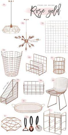 Rose gold home decor ideas, metal mesh design