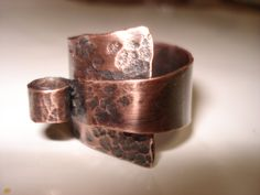 Unique hammered adjustable copper ring by helenshmcreations, £19.50