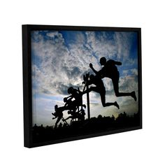 Hurdle Silhouette by David Kyle Floater-Framed Photographic Print on Gallery-Wrapped Canvas
