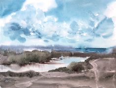 Watercolor painting «Spring River» by Ekaterina Gubina
