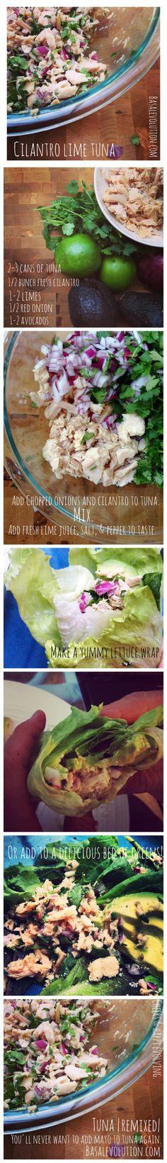 Keto friendly: amazingly delicious tuna recipe (with cilantro and lime) no mayonnaise needed! Cilantro Recipes, Tuna Recipes, Seafood Recipes, Paleo Recipes, Cooking Recipes, I Love Food, Good Food, Yummy Food, Healthy Snacks