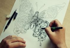 New Ornate Insects Drawn by Alex Konahin insects illustration drawing