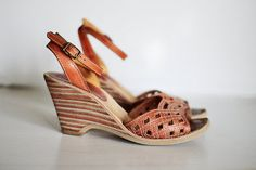 Vintage Buskens Leather Wedge Shoes Sandals 6 M by poshcouture, $39.00    Free People Style