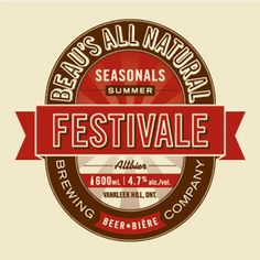 Love this Beer logo: Beau's Festivale.