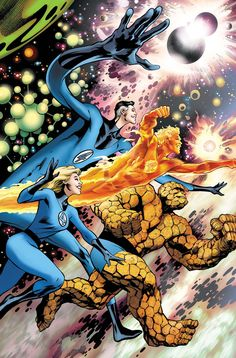 This is the cover for Fantastic Four drawn by Alan Davis. This was the last issue of the series (before coming back a year later), so it's an unashamedly old-fashioned cover with the original uniforms instead of the recent update (with the. Marvel Comic Character, Comic Book Characters, Comic Books Art, Fantastic Four Marvel, Mister Fantastic, Univers Marvel, Marvel Comics Art, Marvel Heroes, Marvel Vs