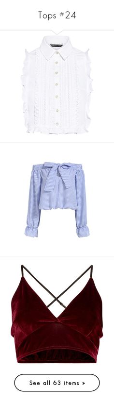 """""""Tops #24"""" by andriana-aaa ❤ liked on Polyvore featuring tops, shirts, blouses, crop top, white lace shirt, button down shirt, button up shirts, white ruffle shirt, white crop tops and crop tops"""