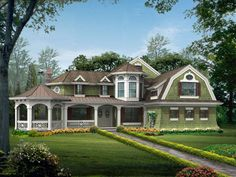 Victorian House Plans, Craftsman Style House Plans, Victorian Homes, Vintage Homes, Modern Victorian, House Plans One Story, Story House, House With Porch, House Front