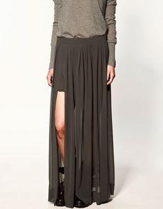 Jupe longue grise fendue Zara Collection Automne hiver 2011/2012