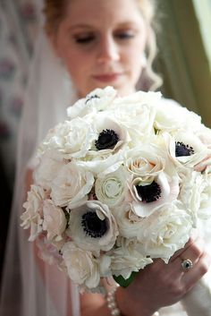 Anemone, Rose and Ranunculus Bouquet-- throw a little red or purple in there and it's perfectt!