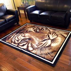 Shop for African Adventure Large Tiger Face Design Area Rug x - x Get free delivery On EVERYTHING* Overstock - Your Online Home Decor Store! African Rugs, Tiger Face, Discount Rugs, Face Design, African Safari, Rug Store, Throw Rugs, Cool Rugs, Rugs Online