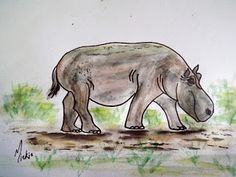 How to draw: A Hippo Drawing Lessons, Animal Drawings, Moose Art, Arts And Crafts, Pretty, Artist, Blog, Painting, Animals