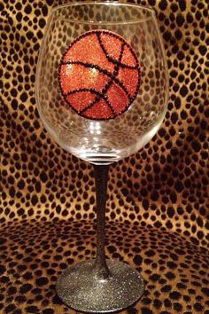 Basketball Wine Glass (Handpainted) on Etsy, $7.99