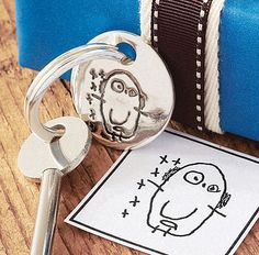 Your Child's Drawing Key Ring OR his doodle made into a keepsake keychain.