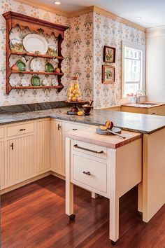 Gorgeous butcher block cart in Kitchen Traditional with Ikea Trash Pullout next to Rolling Kitchen Island alongside Hideaway Table and Italian Wallpaper Ikea Kitchen, Kitchen Shelves, Kitchen Redo, Kitchen Storage, Kitchen Dining, Kitchen Remodel, Kitchen Cabinets, Kitchen Carts, Kitchen Small