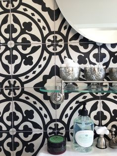 Apartment Therapy Article How to Get the Look of Patterned Cement and Encaustic Tile for Less Floor Patterns, Tile Patterns, Tiles For Less, Black And White Tiles, Black White, Encaustic Tile, Piece A Vivre, Interior Exterior, Interior Design