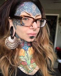 Heavy Body Modification Face Tattoos, Tatoos, Modern Primitives, Skinhead Reggae, Stretched Ears, Labret, Body Modifications, Head And Neck, Body Mods