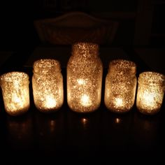 DIY glitter starry night candles decoration decor wedding reception (201) Bride magazine                                                                                                                                                      Más